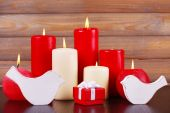 Burning candles for Valentine Day — Stok fotoğraf
