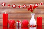 Burning candles for Valentine Day — Stock Photo