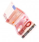 Euro banknote isolated on white — Stock Photo