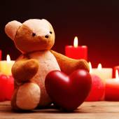 Teddy Bear with red heart and candles — Φωτογραφία Αρχείου