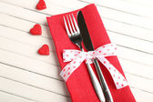 Fork and knife with hearts — Stock Photo