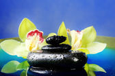 Spa stones with steam and beautiful blooming orchid in water close-up — Foto de Stock