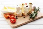 Feta cheese on table — Stock Photo