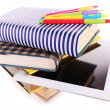 Pile of books with tablet isolated on white — Stock Photo #62952449