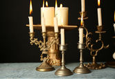 Retro candlesticks with candles — Stock Photo