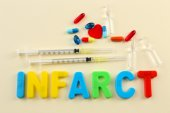 Medicines with word Infarct on colorful background — Fotografia Stock