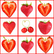 Heart-shaped red berries in collage — Stock Photo #62968477
