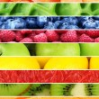 Fruits, berries and greens in colorful collage — Stock Photo #62968815