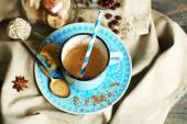 Beautiful composition with dirty cup of cappuccino — Foto de Stock