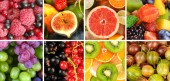 Fruits and berries in colorful collage — Stock Photo