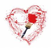 Heart made of red paint splashes and paintbrush isolated on white — Stok fotoğraf