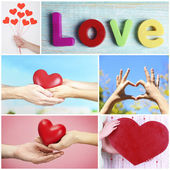Collage of some different hearts images, Love concept — Stok fotoğraf