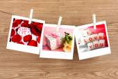 Photo cards hanging on the clothesline, Valentine's Day concept — Stockfoto