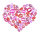 Print kisses shaped heart isolated on white — Stok fotoğraf