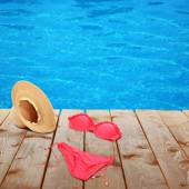 Bright beach accessories on  background — Stock Photo