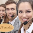 Call center operators at office, Round-the-clock support concept — Stock Photo #63032057