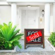 Sold home for sale Real estate sign in front of new house — Stock Photo #63032493
