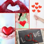 Collage of some different hearts images, Love concept — Foto de Stock