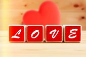 Love spelled in wooden blocks — Foto de Stock