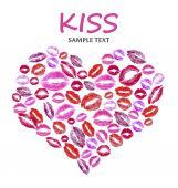 Print kisses shaped heart isolated on white — Zdjęcie stockowe