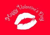Print kiss on red background — Zdjęcie stockowe