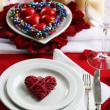 Table setting of Valentines Day — Stock Photo #63136119