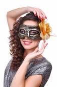 Beautiful girl with masquerade mask isolated on white — Stock Photo