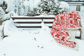 Warm plaid on bench in park in winter time — Stock Photo