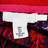 Label on clothing close-up — Stock Photo