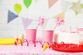 Prepared birthday table for children party — Stock Photo