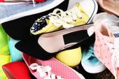 Many various female shoes — Stock Photo