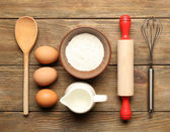 Food ingredients and kitchen utensils — Stock Photo