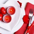 Festive table setting for Valentines Day on light background — Stock Photo #63167061