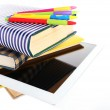 Pile of books with tablet — Stock Photo #63167747