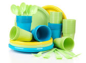 Plastic disposable tableware — Stock Photo