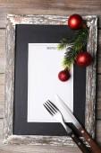 Menu board with Christmas decoration — Foto de Stock