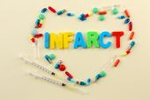 Medicines with word Infarct on colorful background — Foto Stock