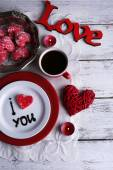 Cookie in form of heart on plate with inscription I Love You on color wooden table background — Foto de Stock