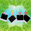 Photo cards hanging on clothesline on palm leaves background — Stock Photo #63215507