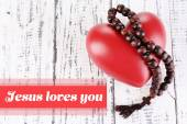 Jesus loves you with heart — Stock Photo
