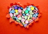 Multicolor beads heart — Stockfoto