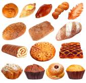Collage of different pastries and bakery items, isolated on white — Stock Photo