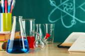Desk in chemistry class — ストック写真