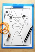 Scheme basketball game on paper — Stock Photo