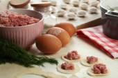 Cooking dumplings with meat — Stock Photo