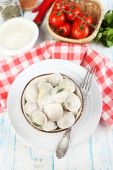 Meat dumplings with sauce — Stock Photo