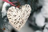 Wicker heart on spruce branch — Stock Photo