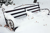 Bench in park with snowfall background — Stock Photo
