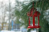 Decorative lantern hanging on fir tree branch on winter scene background — Stock Photo