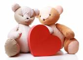Teddy Bears with red heart — Stock Photo